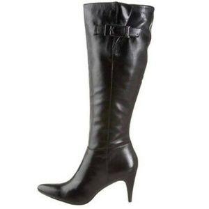 Calvin Klein Logan Black Heeled Leather Boots